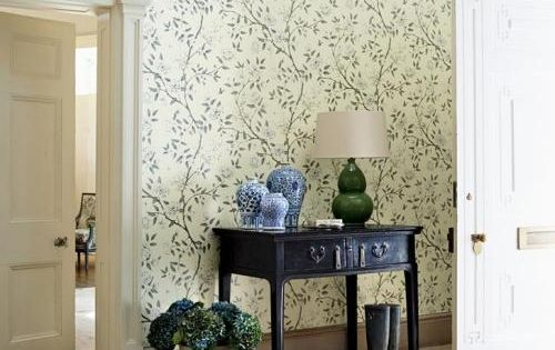 Vintage Foyer Wallpaper : Antique with wallpaper and tile modern