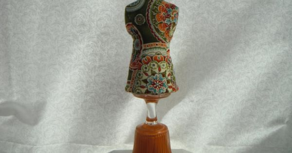 Dress form mannequin pin cushion bohemian modern orange and green