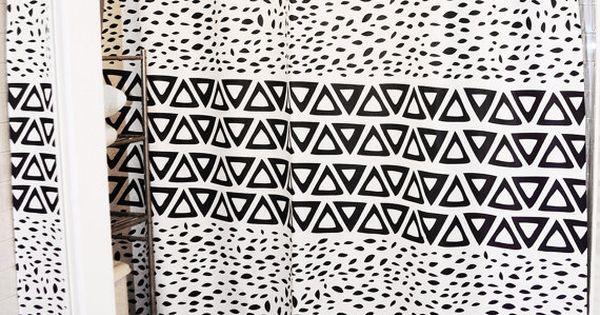 Rideau De Douche Azt Que Noir Et Blanc Ii Minimes Tribal Design Id Al Pour Les Adultes Et