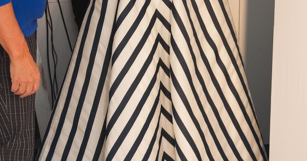 Oscar de la Renta Black and White Chevron Stripes dress. I'm in