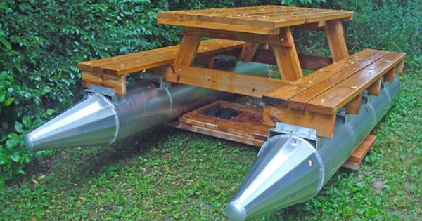 Another pontoon picnic table do it yourself pinterest for Picnic boat plans