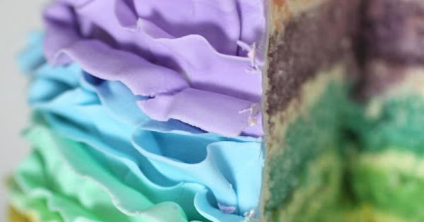 Pastel Rainbow Ruffle Cake Tutorial