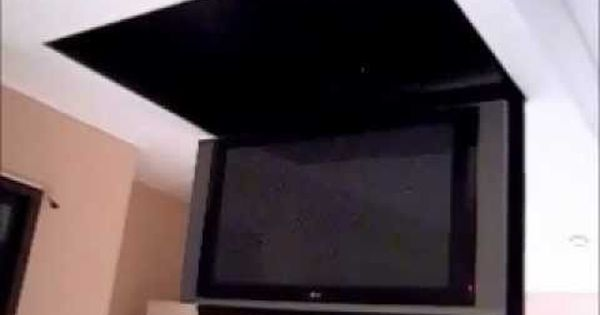 Motorized Flip Down Tv Lift From The Ceiling Tv Ceiling Mount Mounted Tv Tv In Bedroom