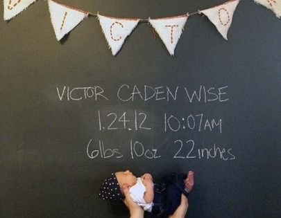 Awesome chalkboard wall and mural and cute idea with baby being held