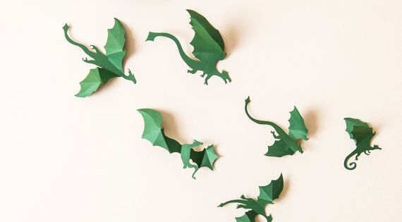 Game of thrones nursery decor 3d green dragon wall decals for Decoration murale game of thrones