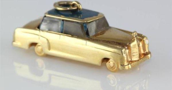 Vintage 14k gold 3d mercedes benz car classic charm for 14k gold mercedes benz pendant
