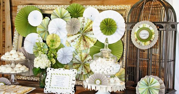 Paper fan rosette dessert table