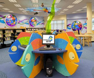 Cool Computer Table To Go With The Fish Book Display Kids Library Public Library Design Library Decor