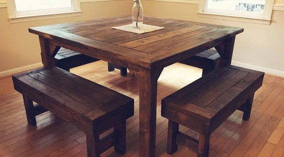 **PLEASE READ SHIPPING POLICY** Beautiful, Rustic, Farmhouse Style Table  Made From Solid Wood That Is Hand Selected And Skillfully Cut And Sanded.