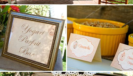 Vintage Fall Birdcage Baby Shower Brunch // I love the yogurt parfait