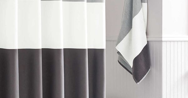 13 Ideas For Creating A More Manly Masculine Bathroom A Simple Color Blocked Shower Curtain
