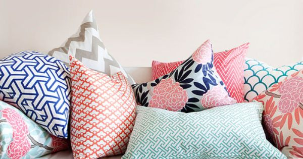 mix patterned throw pillows. can't find a picture of a mix that