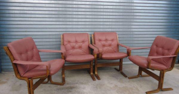 Vintage Ingmar Relling Siesta Chairs Pink Leather Retro Armchairs Danish Ebay Retro Armchair Retro Chair Danish Armchairs
