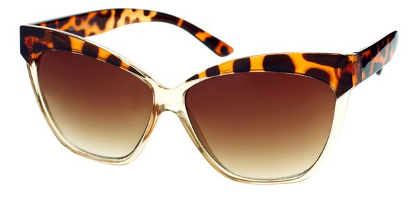 Featuring transparent frames with a contrast leopard print brow panel and upturned
