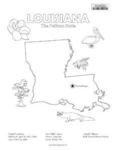 United States Coloring Pages Teaching Squared Louisiana Facts Louisiana Map Coloring Pages