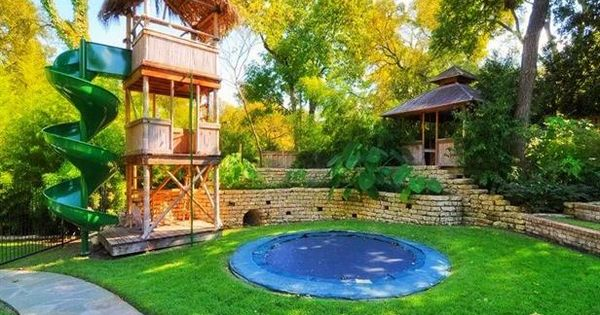 Love the idea of the sunken trampoline! - YES. My kids will