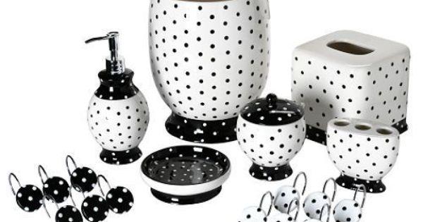 Details About Black White Polka Dot Bathroom Accessory Tissue Box Wastebasket Bath Pump Decor