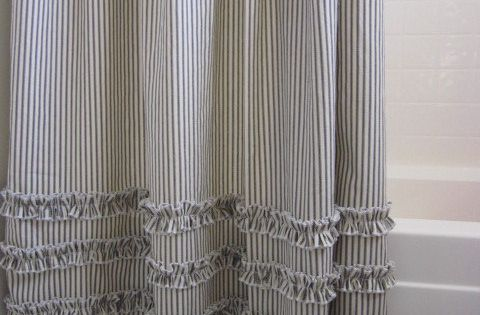 Vintage Ticking Stripe Shower Curtain With Ruffles 11 Color Options Custom Size Available