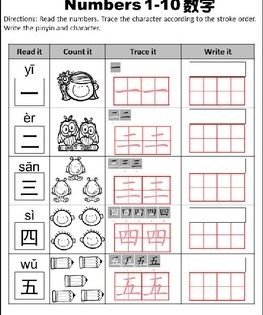 numbers 1 10 chinese word work and activities mandarin chinese words word work and activities. Black Bedroom Furniture Sets. Home Design Ideas