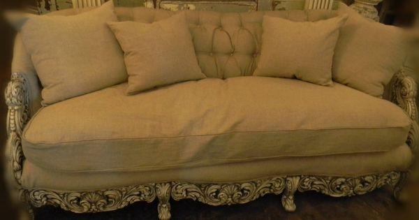 Vintage Ornate Wood Trim Linen Tufted Back Sofa With Down