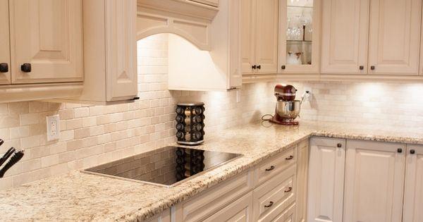 White Kitchen Design Giallo Ornamental Granite Countertops
