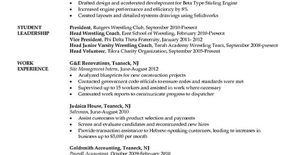 mechanical engineering student resume job resume samples