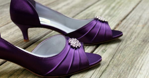 Purple Wedding Shoes low heel  1.75 inch heel by TheCrystalSlipper ...