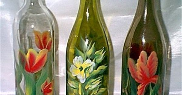 Diy painted wine bottles google search glass bottle for Easy wine bottle painting ideas