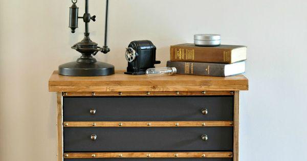 Industrial Wood And Metal Nightstand: IKEA Rast Hack: Industrial Nightstand