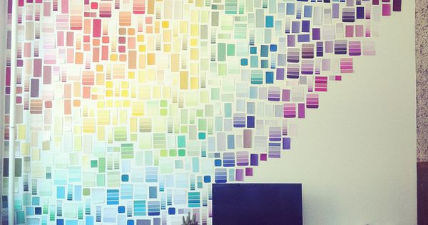Awesome paint swatch wall art! Only cost was the blue painters tape.