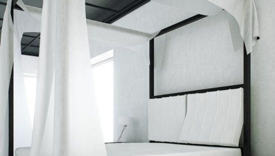 Canopy bed, black and white bedroom