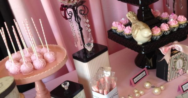 Beautiful Pink Paris dessert table. Cute for the bridal shower