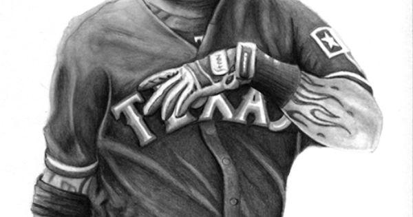 Josh hamilton sports art medium graphite pencil texas for Josh hamilton tattoo