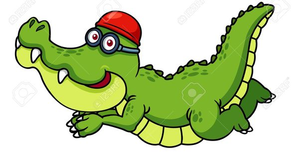 Illustration Of Cartoon Crocodile Swimming Royalty Free ... - photo#30