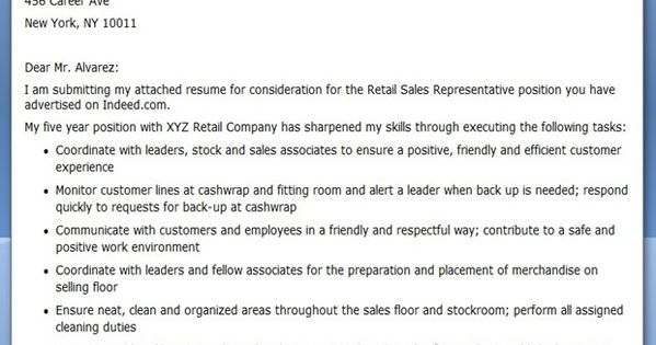 Retail Sales Clerk Cover Letter Sample