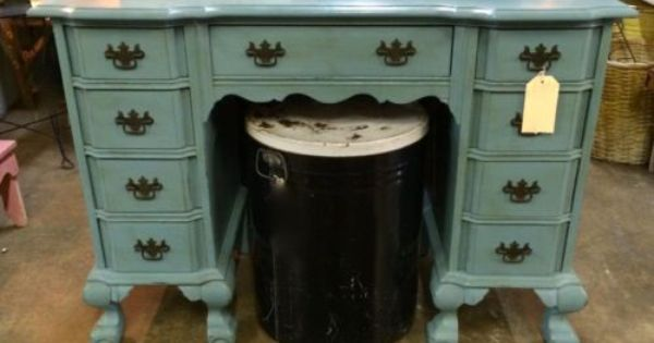 Acrylic Vs Latex Paint >> Queen Anne Desk On Sale Walnut with Oak Drawers Painted in Amy Howard, Vintage Affliction 43.5 ...