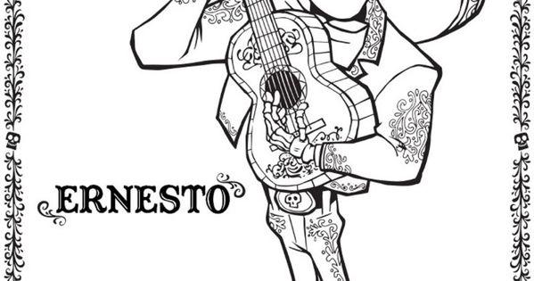 coco dibujos para colorear de coco de disney pixar auto electricaldibujo de ernesto de la cruz coco plantilla para dibujar y