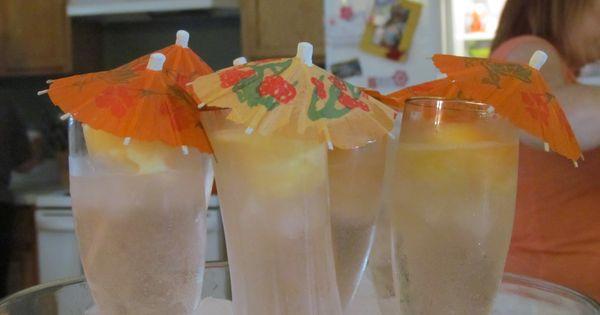 punch-sprite, peach white grape juice, melon ball of peach sherbert ...