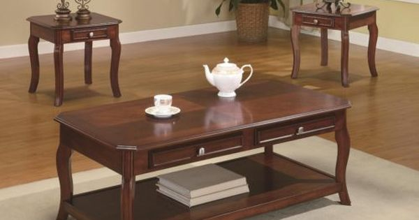Cherry Wood Coffee Table And End Tables Warm Bourbon Finish 3 Piece Coaster Home Furnishings