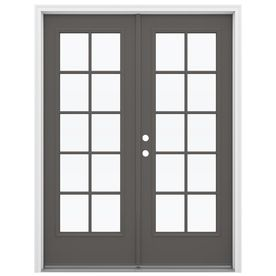 Reliabilt 59 5 In 10 Lite Glass Timber Gray Fiberglass French Inswing French Doors Patio Patio Doors Indoor French Doors