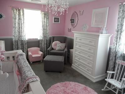 Pretty Pink And Gray Princess Nursery For Our Baby Girl Grey Baby Room Baby Girl Room Baby Girl Bedroom