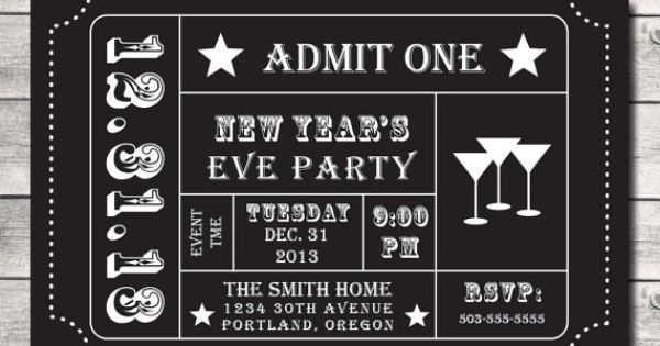 new year u0026 39 s eve 2014 party ticket invitation