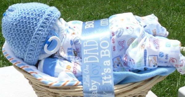 Diaper baby basket. Baby gift idea. Also baby shower idea - could