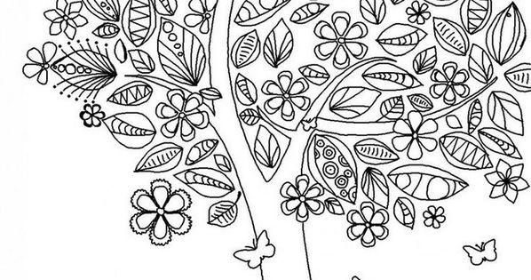 arbre au printemps travaux manuels perso pinterest coloration t et mandalas. Black Bedroom Furniture Sets. Home Design Ideas