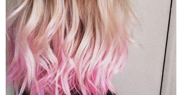 Hair Ideas For Short Hair Pinterest: Blonde, Dyed Tips, Pink Hair, Short Hair, Wavy Hair