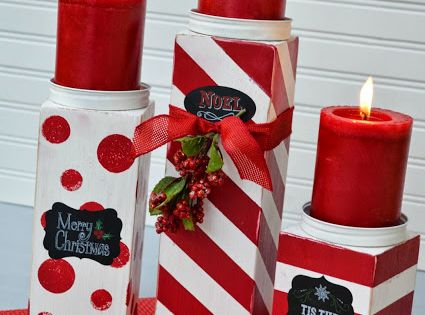 25 red and white christmas decoration ideas candlesticks for Decoration 4x4