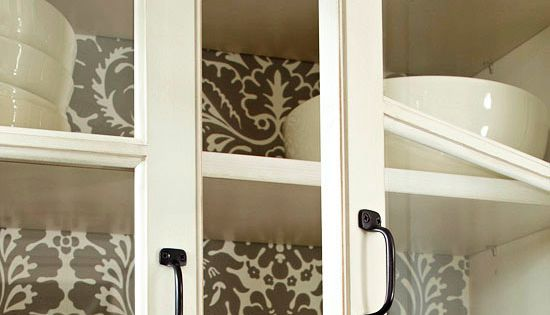 Wallpaper inside cabinets