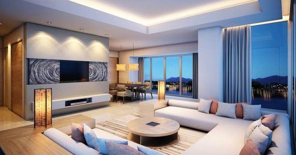 Plafond met verlichting en verzonken geeft mooi effect for Sala de estar iluminacion