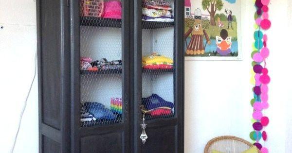 armoire deux portes dressing pour chambre d 39 enfant meuble vintage r cup transform et repeint. Black Bedroom Furniture Sets. Home Design Ideas
