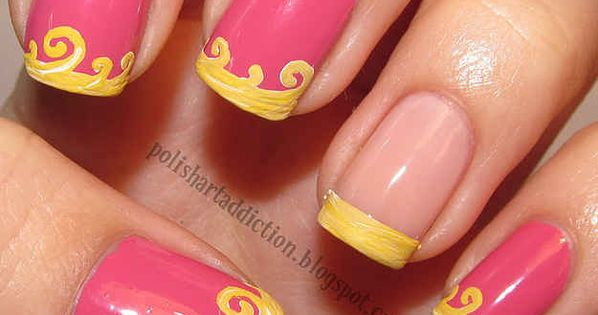 Another Sleeping Beauty-esque manicure, playing off of the princess's golden locks. |